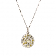 White Gold Mini Mars Multi-Color Diamond Disc Necklace Image