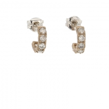 Tiny White Gold Diamond Huggie Hoops Image
