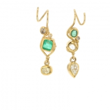 Emerald and Diamond 22k Gold Earrings Image