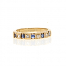 14k Blue Sapphire and Diamond Ring Image