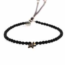 Black Agate Leather Bracelet with Diamond Mini Star Accent Image