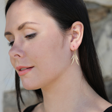 Small Feather Cluster Gold Earrings Image