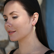 Gold Bird of Paradise Feather Earrings Image