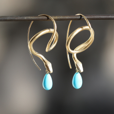Serpent Earrings with Diamond Eyes and Turquoise Drops Image