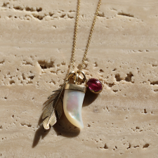 Scavenger Charm Necklace with Mother of Pearl and Rubelit