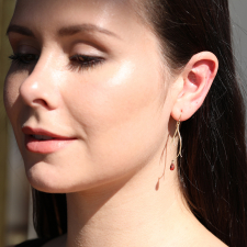 Small Vein Gold Earrings with Garnet Drops Image