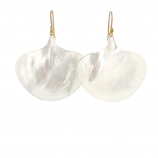 Large Mother of Pearl Ginko Leaf Gold Earrings Image