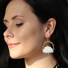 Drusy Chalcedony Clouds with Diamond Raindrops Earrings Image