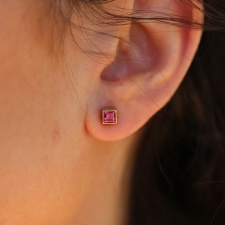 Pink Tourmaline Square Stud Earrings Image