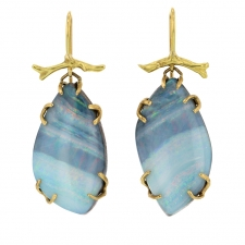 Boulder Opal 18k Gold Branch Drop Earrings Image