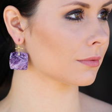 Charoite 18k Gold Branch Earrings Image