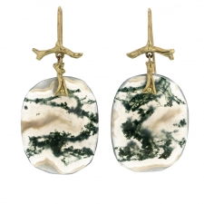 Moss Agate Slice Gold Branch Earrings Image