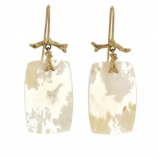 Plume Agate Gold Branch Earrings Image