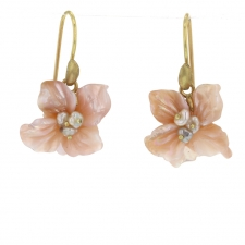 Pink Mother of Pearl African Violet Blossom Earrings Image