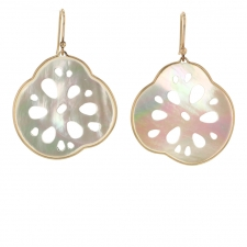 White Mother of Pearl Lotus Root Earrings Image