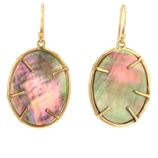 Lunaria Gold Black Mother of Pearl Earrings Image