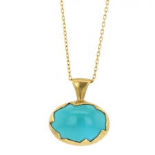 Sleeping BeautyTurquoise Gold Egg Necklace Image