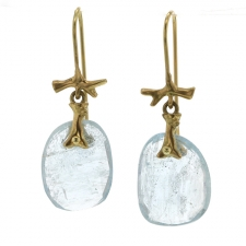 Aquamarine Branch 18k Gold Earrings Image