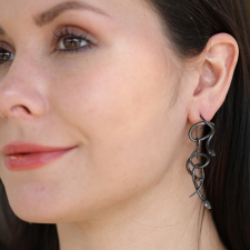Serpent Chandelier Earrings in Oxidized Silver with Diamond Eyes Image