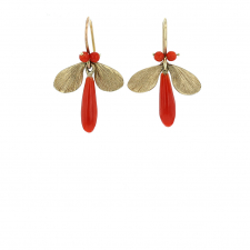 Coral Jeweled Bug Earrings Image
