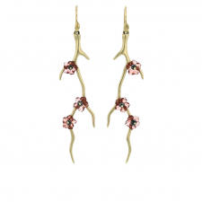 Gold Branch Earrings with Black Diamond Blossoms Image