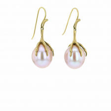 Large Pink Pearl Claw Gold Earrings Image