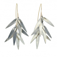 Silver Bamboo Cluster Earrings Image