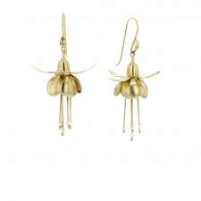 Gold Fuschia Flower with Pearls Earrings Image
