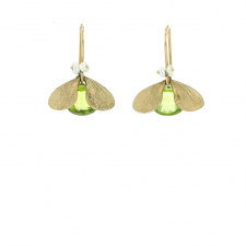 Peridot Jeweled Bugs with Pearl Eyes Earrings Image