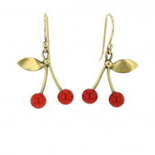 Red Coral Cherries Gold Earrings Image
