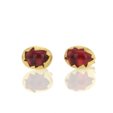 Pink Tourmaline Egg Stud  Gold Earrings Image
