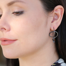 Oxidized Silver Serpent Earrings with Diamond Eyes Image