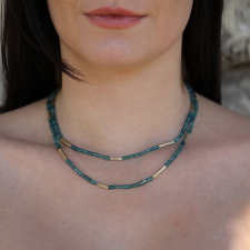 Blue Green Tourmaline Gold Reed Necklace Image