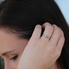 Faceted Blue Green Tourmaline Oval 18k Gold Ring Image