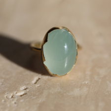 Large Milky Aquamarine 8k Gold Egg Ring