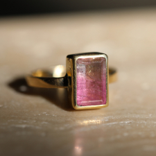 Pink Ombre Tourmaline Gold Ring Image