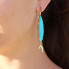 Turquoise 18k Fish Earrings Image