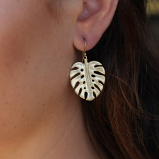 Gold Palm Leaf Earrings Image