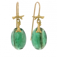 Small Emerald Branch Gold Earrings Image