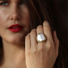 Natural Pearl Branch Ring with Diamonds Image