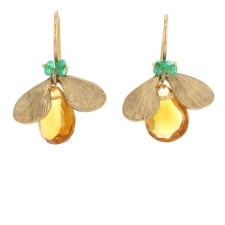 Citrine and Emerald Bug Gold Earrings Image
