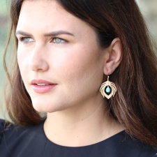 14k Gold Peacock Feather with Turquoise Earrings Image