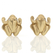 Gold and Diamond Frog Earrings Image