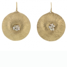Large 10k Gold Dandelion with Pearl Earrings Image