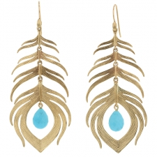 Long 14k Gold Peacock Feather with Turquoise Earrings Image