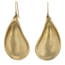 Large 10k Gold Mussel Shell Gold Earrings Image