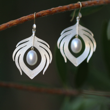 Sterling Silver Peacock Earrings with Pearls Image