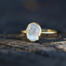 Small Rainbow Moonstone Egg Stacker Ring Image