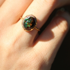 Mexican Matrix Opal Brown and Green Egg Ring Image