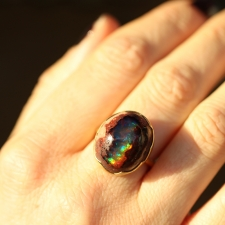 Mexican Matrix Opal Egg Gold Ring Image
